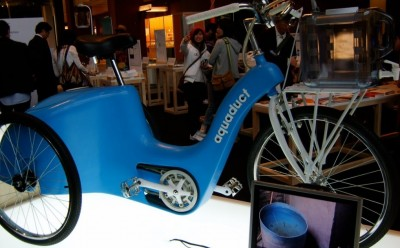 Pedal powered vehicle: filters and stores water