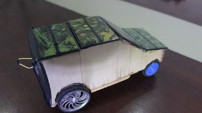 Small solar power car in action
