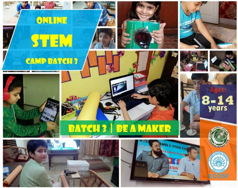 "Online Family STEM Camp Session 2 ""Be A Maker"" poster"