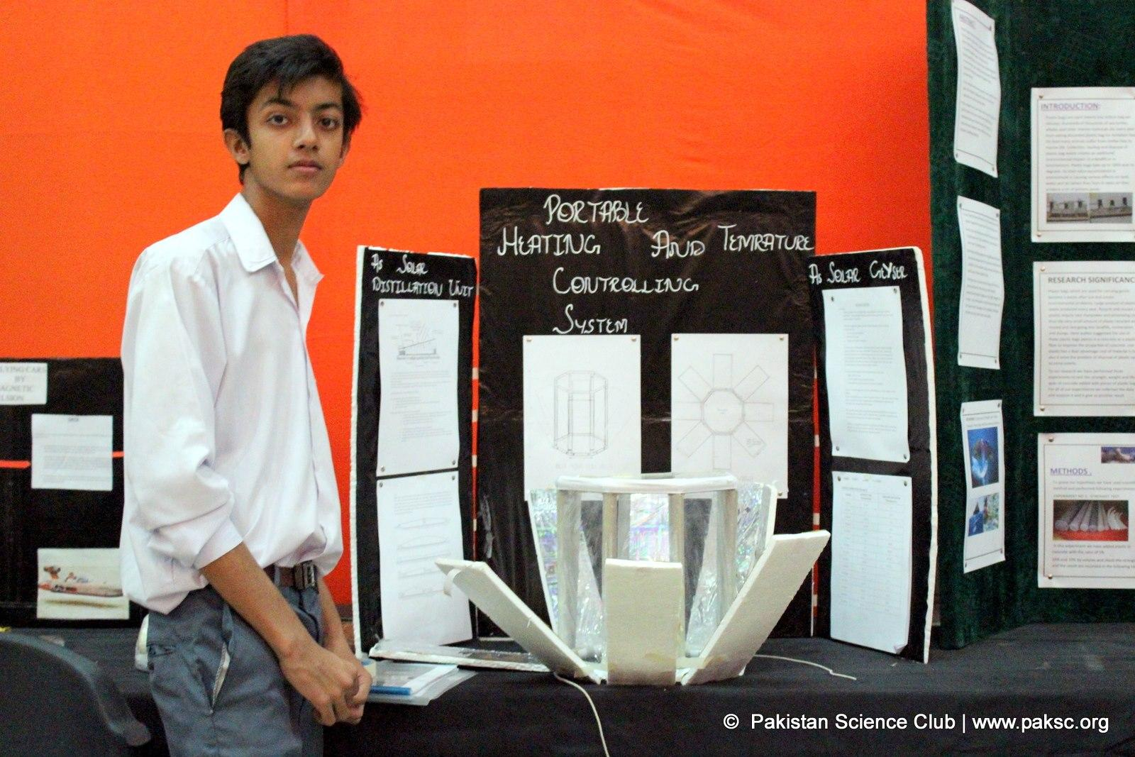 File Photo PSC: Habab idrees won1st prize at National science fair 2015 he desgin his project at PSC Lab project