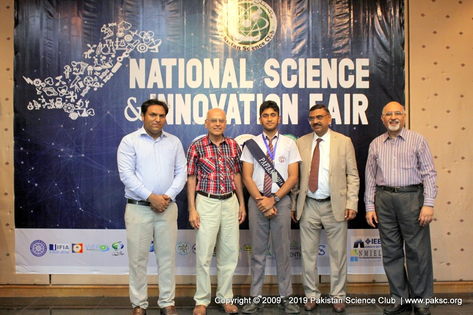 National Science & Innovation Fair 2019 at Karachi, Pakistan. Special prize winner IEEE YESIST 12, Junior Einstein competition Yasir  Salaar aftab