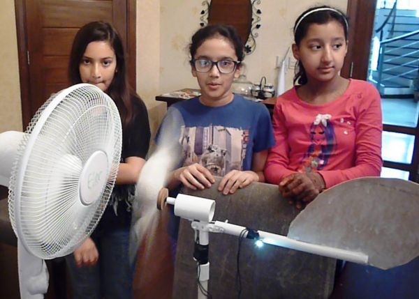 Girl Scientist's Science Project Windmill
