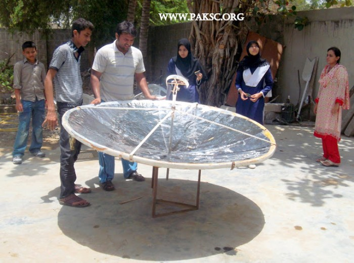 Parabolic solar cooker reconstruction photos