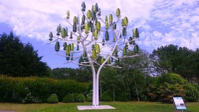 Wind Turbine Trees Generating Electricity